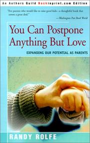 Cover of: You Can Postpone Anything but Love | Randall Colton Rolfe