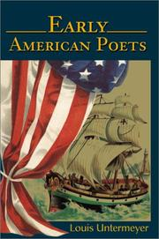 Cover of: Early American poets