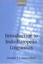 Cover of: Introduction to Indo-European linguistics