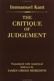 Cover of: The Critic of Judgement