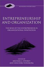 Cover of: Entrepreneurship and Organization |