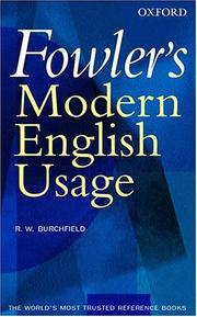 Cover of: Fowler's modern English usage | H. W. Fowler