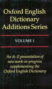 Cover of: Oxford English Dictionary Additions Series, Vol. 1 |