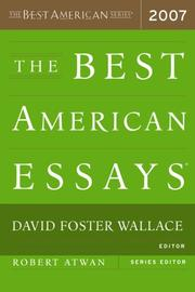 Cover of: The Best American Essays 2007 (The Best American Series) |