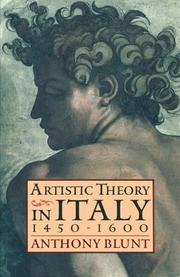 Cover of: Artistic Theory in Italy | Anthony Blunt