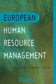 Cover of: European Human Resource Management | Timothy A. R. Clark