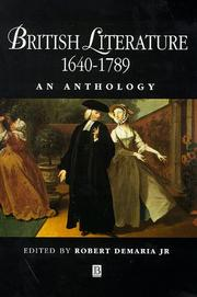 Cover of: British literature, 1640-1789 |