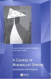 Cover of: A course in minimalist syntax