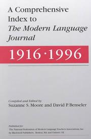 Cover of: Comprehensive index to The Modern language journal (1916-1996) |