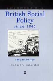 Cover of: British social policy since 1945