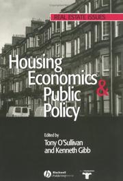 Cover of: Housing Economics and Public Policy (Real Estate Issues)