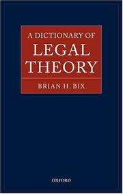 Cover of: A dictionary of legal theory