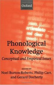 Cover of: Phonological knowledge