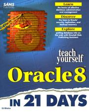 Cover of: Teach yourself Oracle 8 in 21 days | Whalen, Edward.