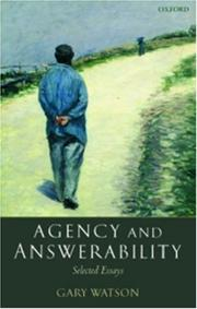Cover of: Agency and answerability