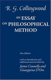 Cover of: An essay on philosophical method