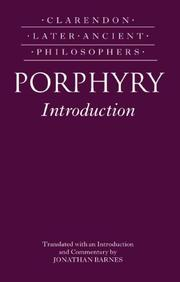 Cover of: Porphyry Introduction (Clarendon Later Ancient Philosophers) | Jonathan Barnes