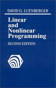 Cover of: Linear and nonlinear programming