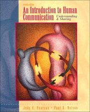 Cover of: introduction to human communication | Judy C. Pearson