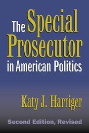 Cover of: The special prosecutor in American politics