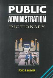 Cover of: Public administration dictionary
