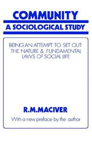 Community, a sociological study by Robert M. MacIver