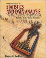 Cover of: Introduction to statistics and data analysis for the behavioral sciences