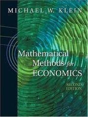 Cover of: Mathematical Methods for Economics