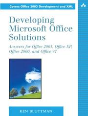 Cover of: Developing Microsoft Office Solutions | Ken Bluttman