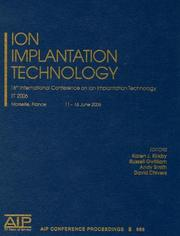 Cover of: Ion implantation technology by