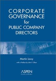 Cover of: Corporate governance for public company directors