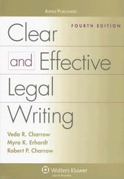 Cover of: Clear and Effective Legal Writing | Veda R. Charrow