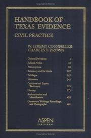 Cover of: Handbook of Texas Evidence | W. Jeremy Counseller