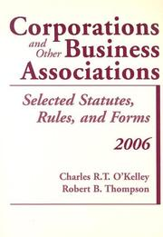 Cover of: Corporations and Other Business Associations, 2006 Statutory | Charles R. T. O