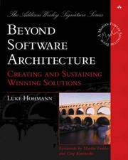Cover of: Beyond Software Architecture