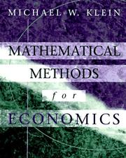 Cover of: Mathematical methods for economics | Michael W. Klein