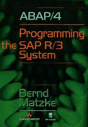 Cover of: ABAP/4, programming the SAP R/3 system