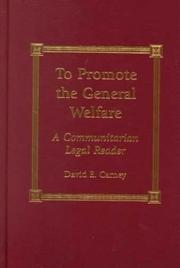 Cover of: To Promote the General Welfare