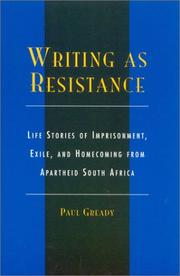 Cover of: Writing as Resistance