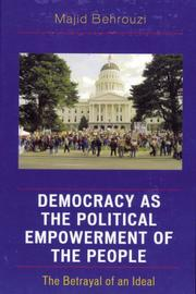 Cover of: Democracy as the Political Empowerment of the People | Majid Behrouzi