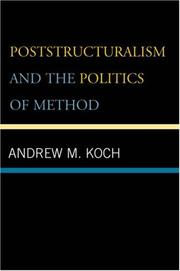 Cover of: Poststructuralism and Political Theory