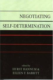 Cover of: Negotiating self-determination |