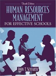 Cover of: Human resources management for effective schools | John T. Seyfarth