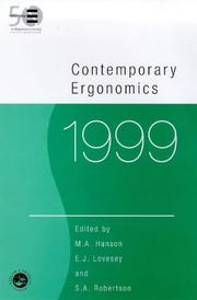 Cover of: Contemporary Ergonomics 1999 (Contemporary Ergonomics)
