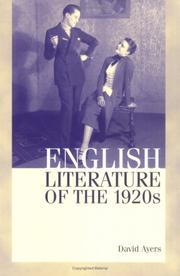 Cover of: English Literature of the 1920s | David Ayers