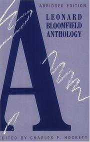 Cover of: A Leonard Bloomfield anthology