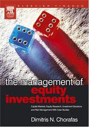 Cover of: The management of equity investments | Chorafas, Dimitris N.
