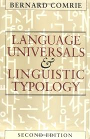 Language universals and linguistic typology by Bernard Comrie