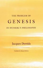 Cover of: The Problem of Genesis in Husserl's Philosophy