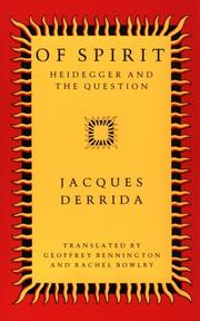 Cover of: Of Spirit: Heidegger and the question